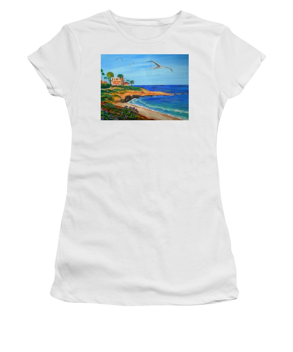 La Jolla Women's T-Shirt (Athletic Fit) featuring the painting South La Jolla by Eric Johansen