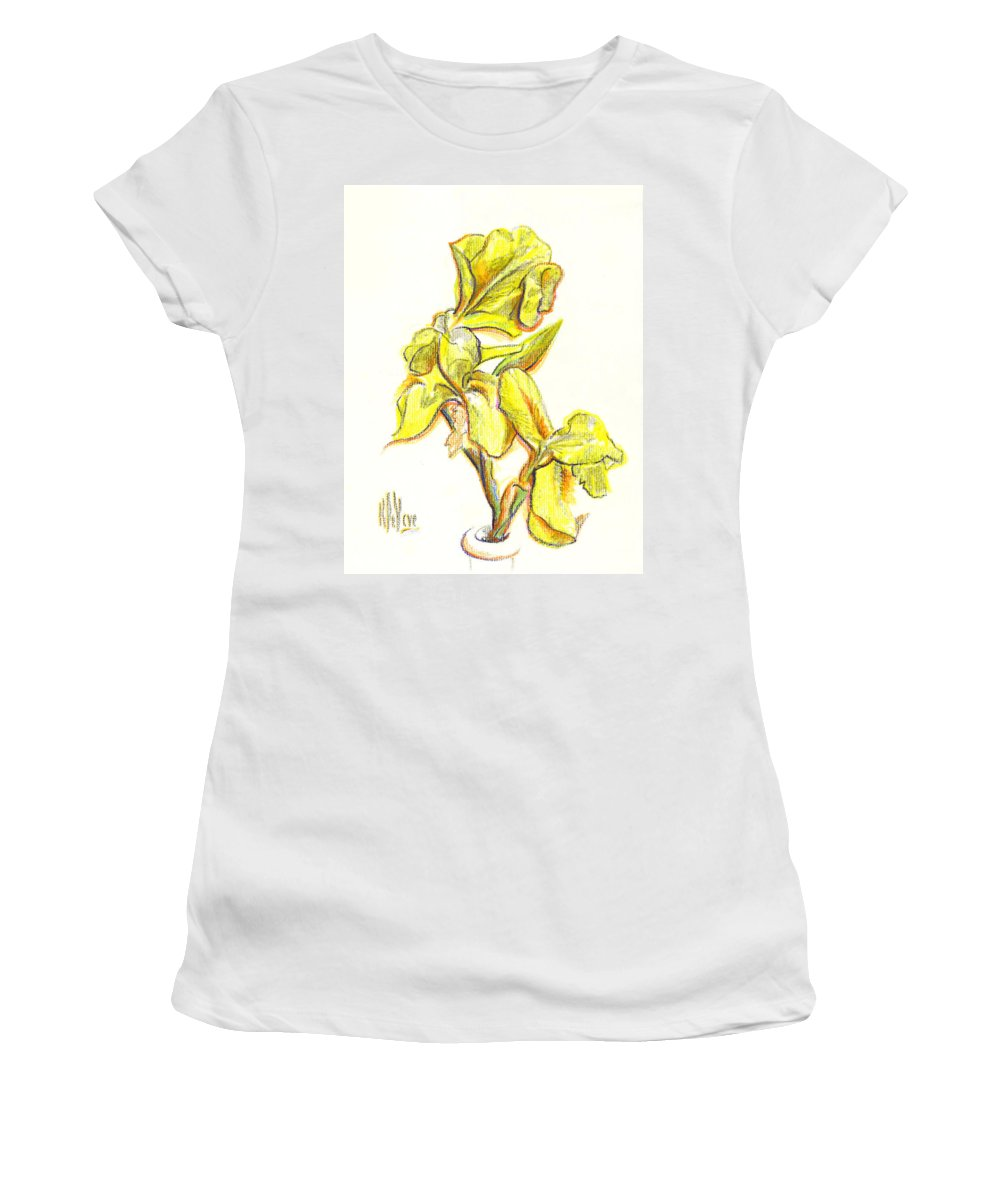 Spanish Irises Women's T-Shirt (Athletic Fit) featuring the painting Spanish Irises by Kip DeVore