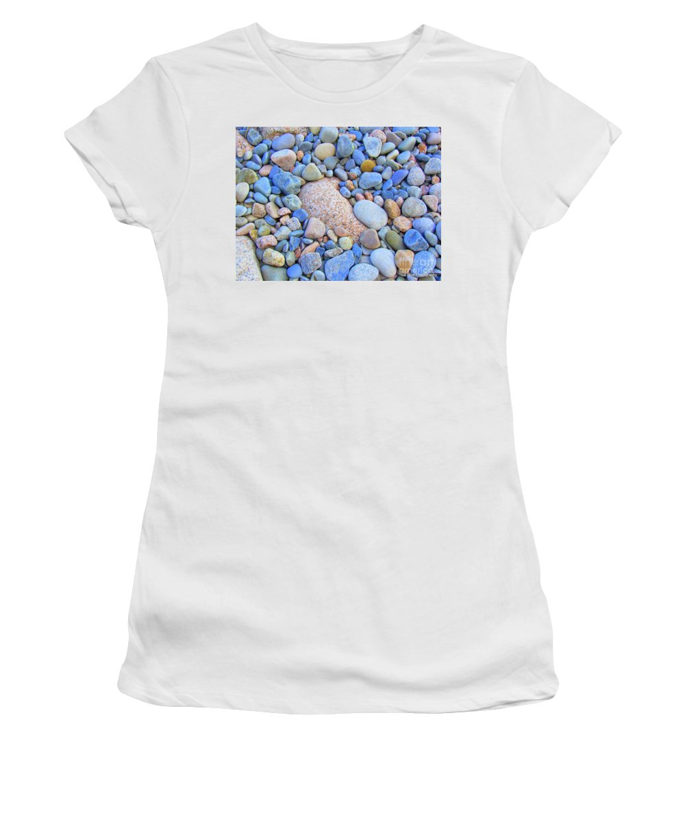 Rocks Women's T-Shirt (Athletic Fit) featuring the photograph Speckled Stones by Elizabeth Dow