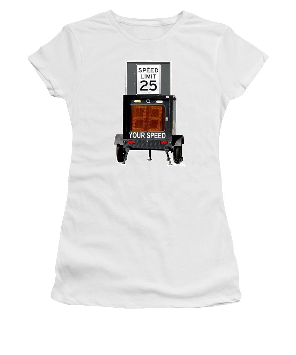 Speed Women's T-Shirt (Athletic Fit) featuring the photograph Speed Limit Monitor by Olivier Le Queinec