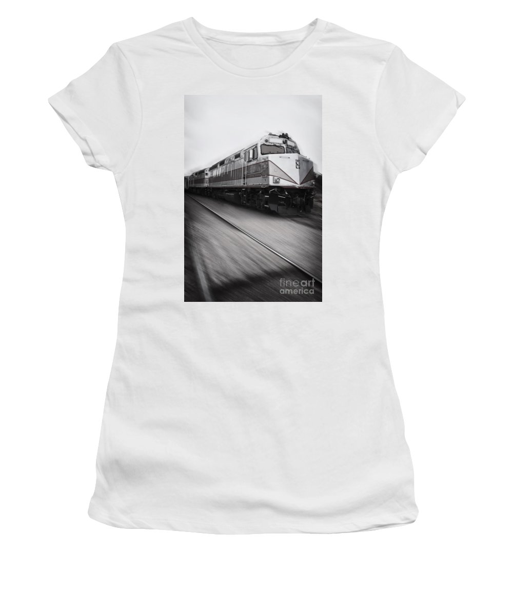 Rail; Railroad; Tracks; Train Tracks; Train; No One; Arizona; Moving; Speed; Metal; Line; Iron; Ties; Transportation; Stone; Pebbles; Outside; Motion; Locomotive Women's T-Shirt featuring the photograph Speeding Along by Margie Hurwich