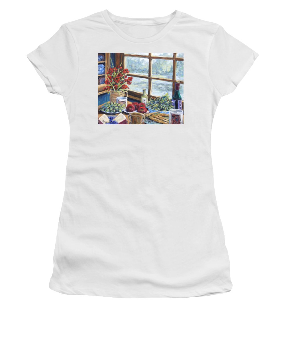 Still Life Women's T-Shirt (Athletic Fit) featuring the painting Spice Table By Prankearts by Richard T Pranke