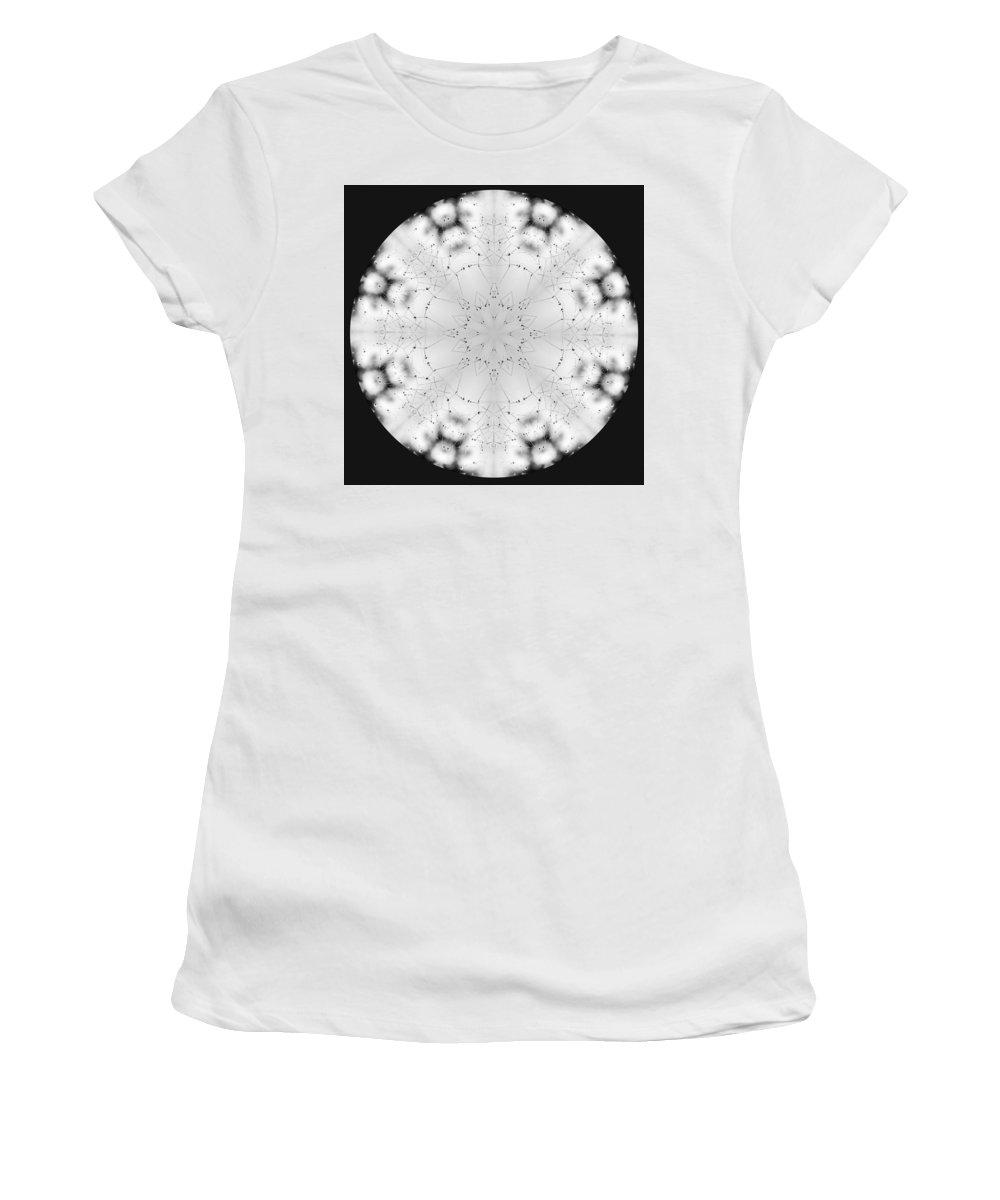 Spider Women's T-Shirt featuring the photograph Spiderweb Dewed Snowflake by Anna Burdette