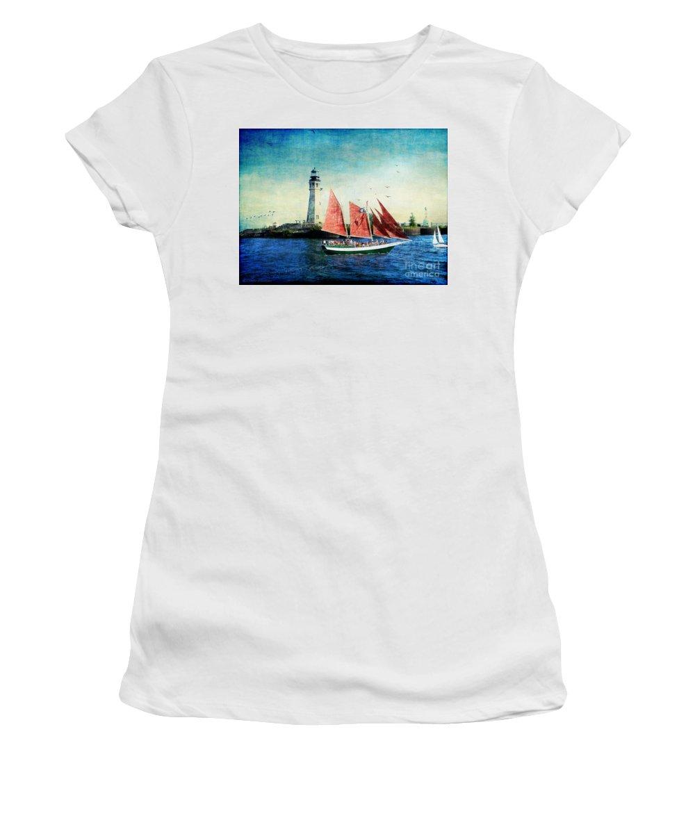 Ship Women's T-Shirt featuring the digital art Spirit Of Buffalo by Lianne Schneider