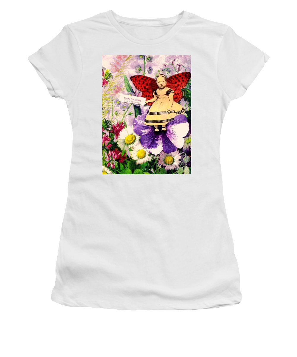 Spring Women's T-Shirt (Athletic Fit) featuring the mixed media Spring Has Sprung by Desiree Paquette
