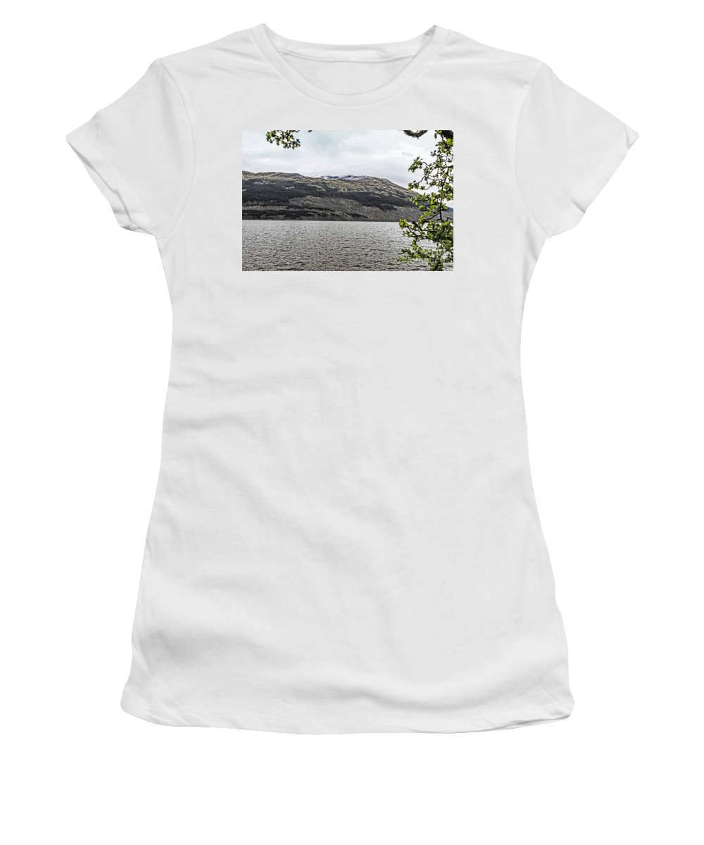 Travel Women's T-Shirt (Athletic Fit) featuring the photograph Spring Snow In The Highlands by Elvis Vaughn