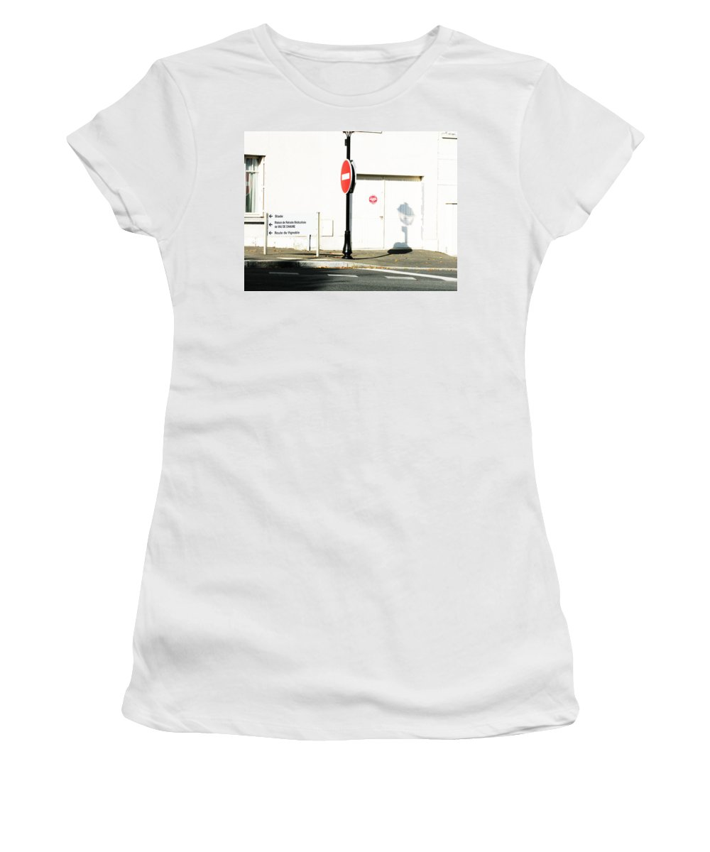 St. Aignan Women's T-Shirt featuring the photograph St. Aignan Signs And Shadows by Randi Kuhne