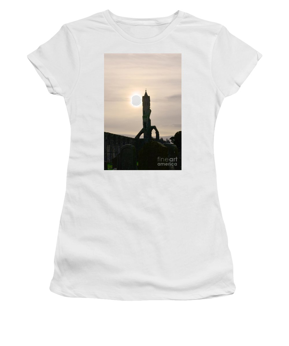 St Andrews Women's T-Shirt (Athletic Fit) featuring the photograph St Andrews Scotland At Dusk by DejaVu Designs