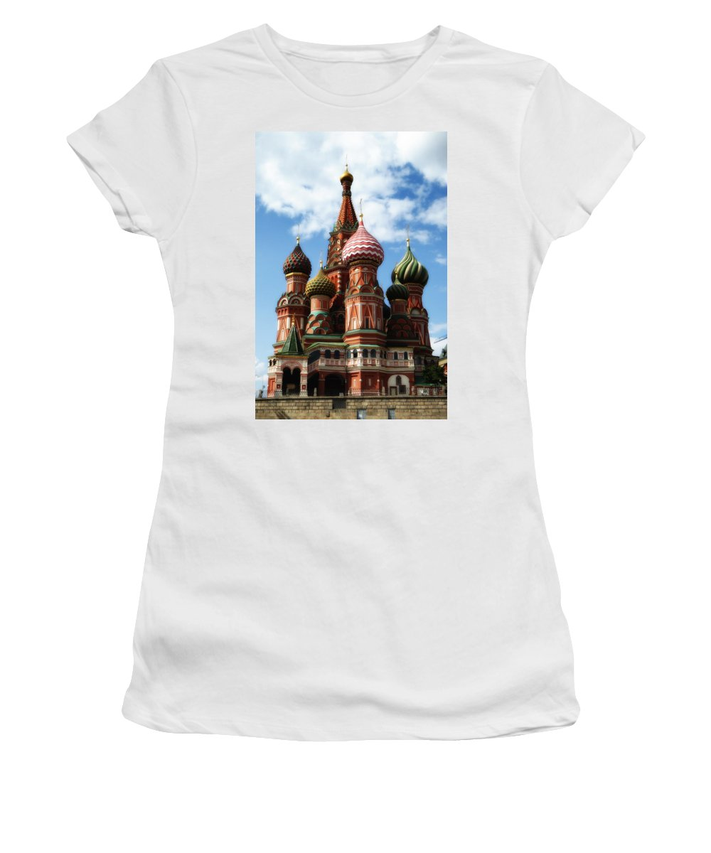 St. Basil's Cathedral Women's T-Shirt featuring the photograph St. Basil's Cathedral by Linda Dunn