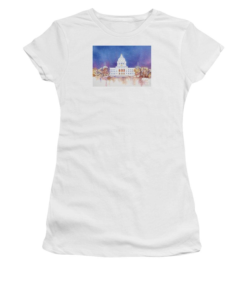 St. Paul Women's T-Shirt featuring the painting St. Paul Capitol Winter by Deborah Ronglien