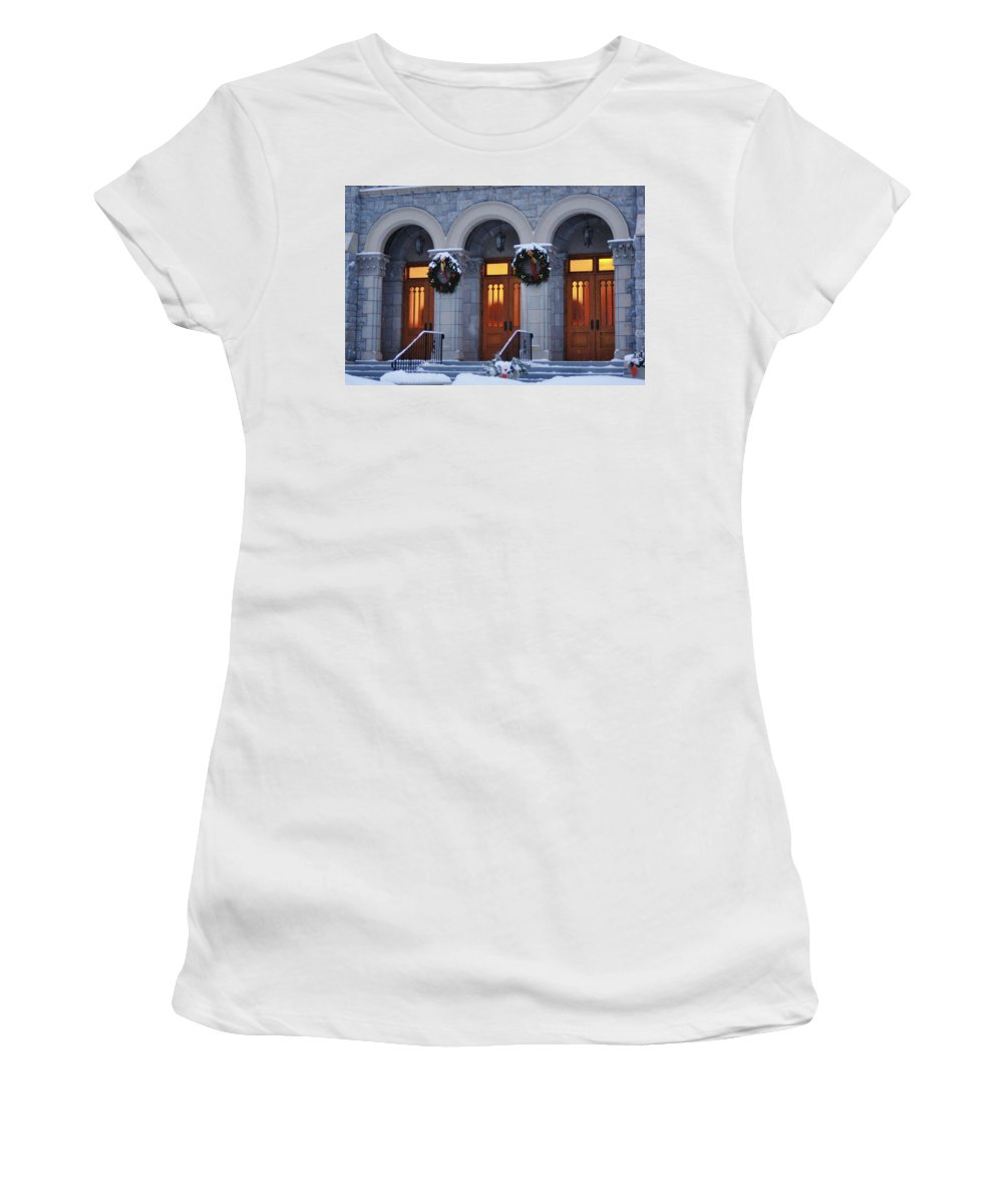 St Peters Women's T-Shirt (Athletic Fit) featuring the photograph St Peters Christmas Welcome by Dennis Comins