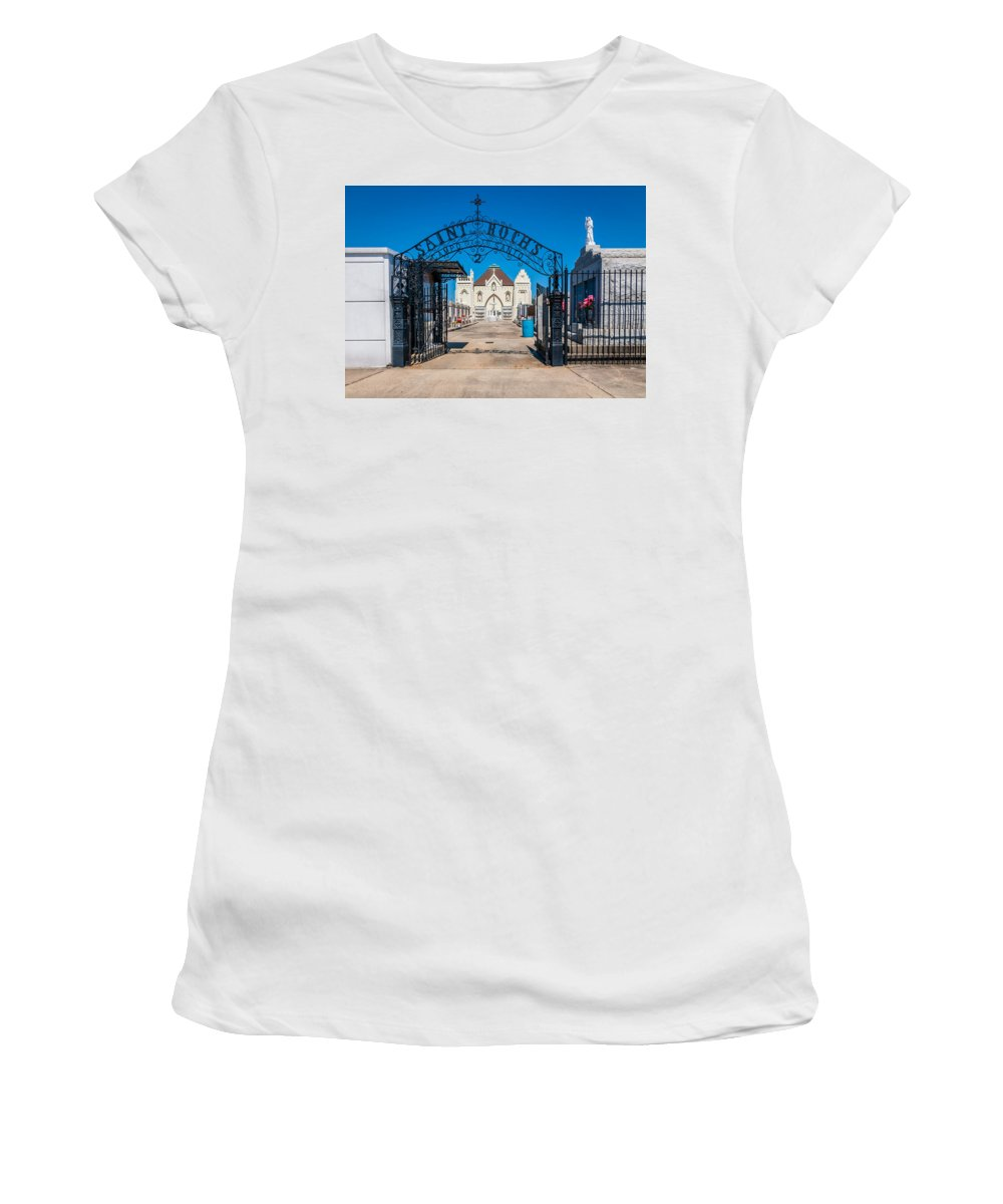 Cemetery Women's T-Shirt (Athletic Fit) featuring the photograph St Roch's Cemetery by Steve Harrington