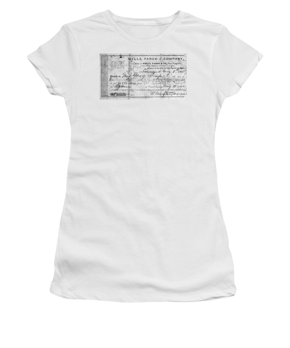1868 Women's T-Shirt featuring the photograph Stagecoach Ticket 1868 by Granger