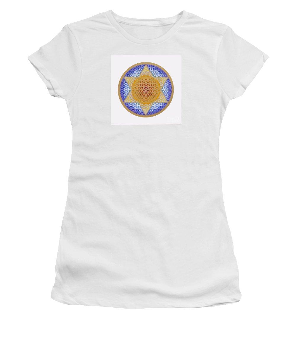 Mandala Women's T-Shirt (Athletic Fit) featuring the painting Starflower by Mayki Wiberg