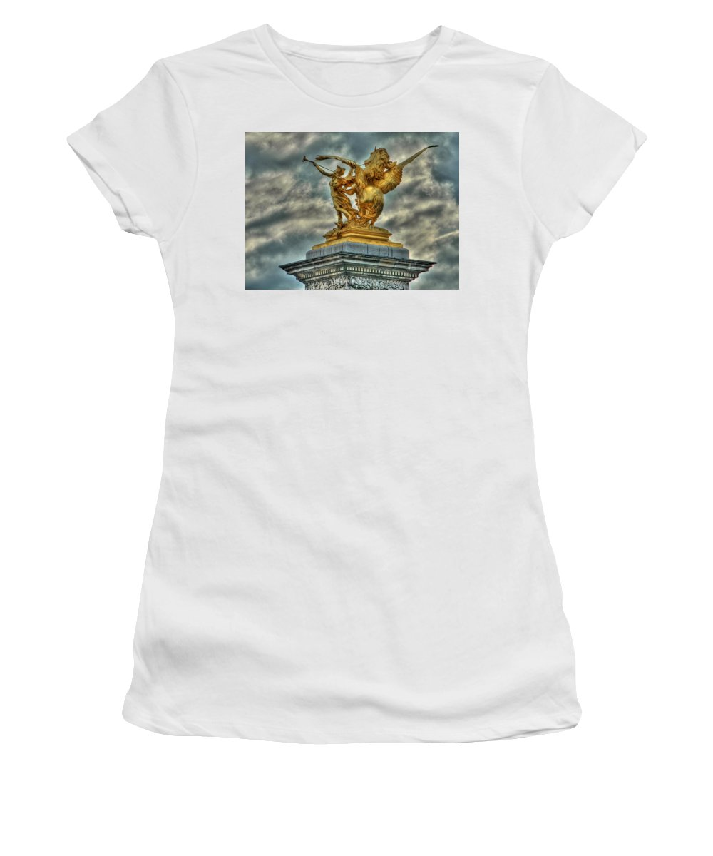 Paris Women's T-Shirt (Athletic Fit) featuring the photograph Statue On Pont Alexandre IIi by Michael Kirk