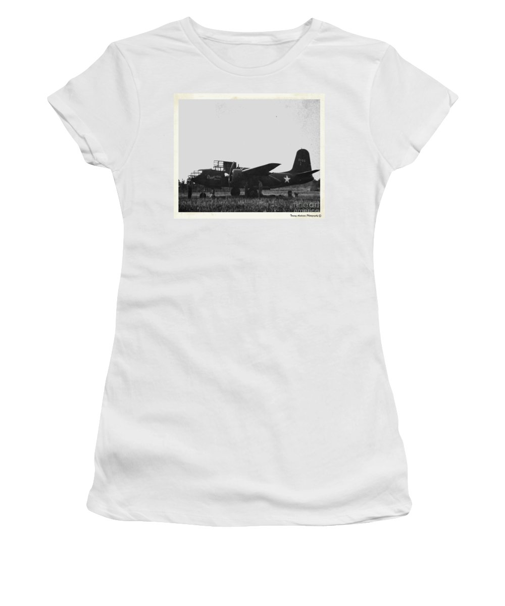 Douglas A-20 Havoc Women's T-Shirt (Athletic Fit) featuring the photograph Steak And Eggs by Tommy Anderson