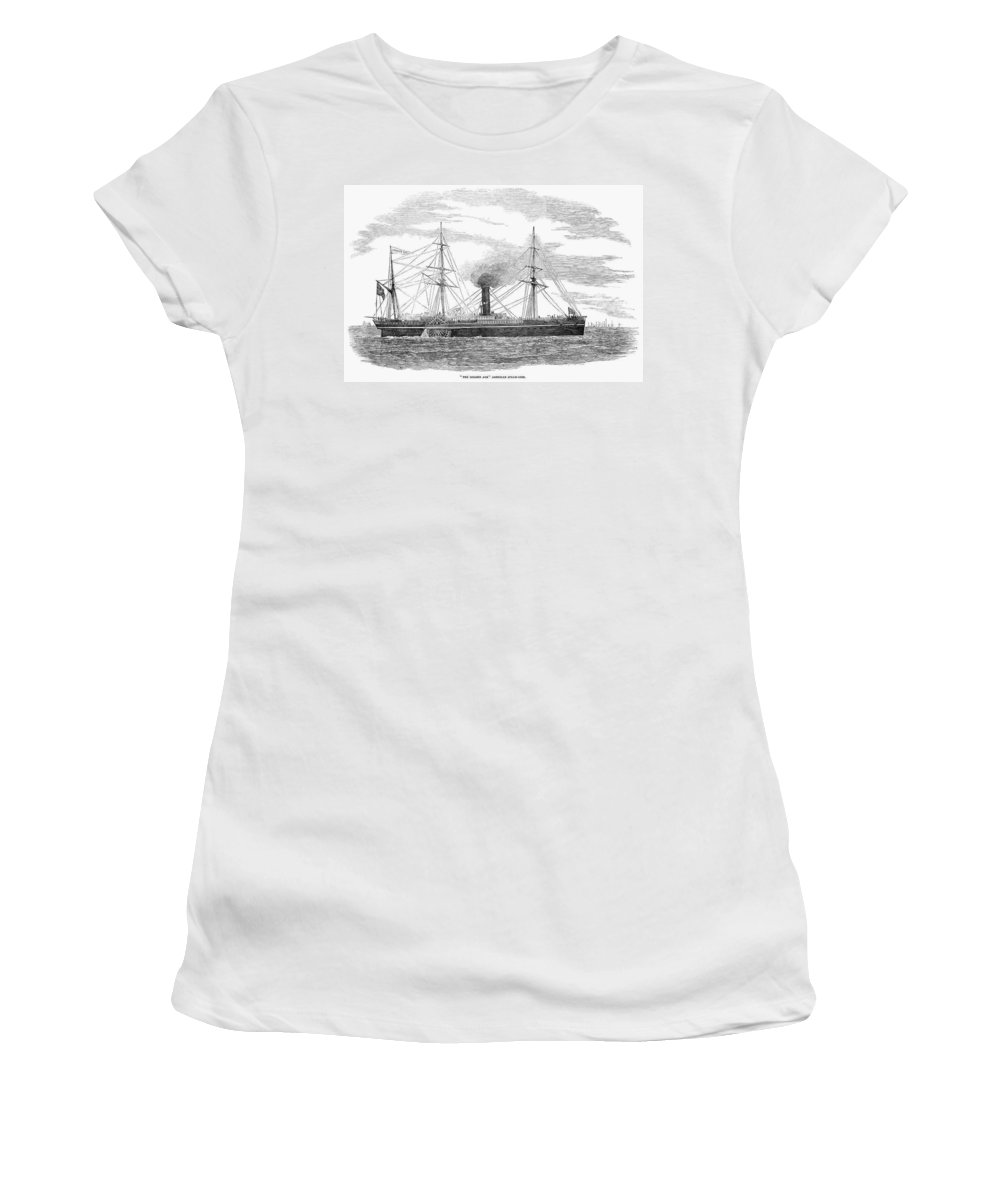 1853 Women's T-Shirt (Athletic Fit) featuring the painting Steamship, 1853 by Granger