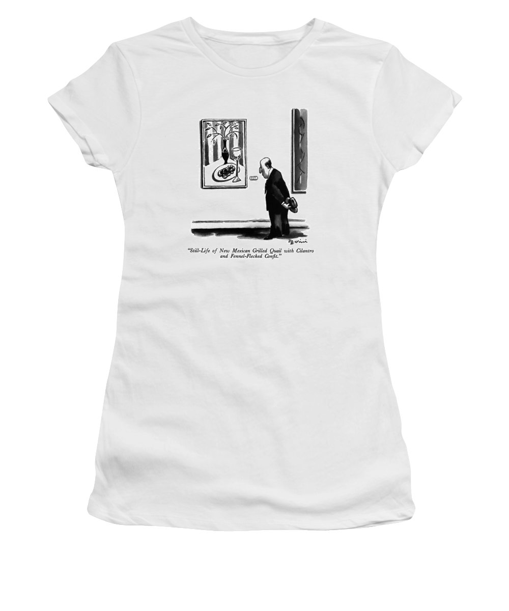 Man Reads Label Of Painting In Museum.  Food Women's T-Shirt (Athletic Fit) featuring the drawing Still-life Of New Mexican Grilled Quail by Eldon Dedini