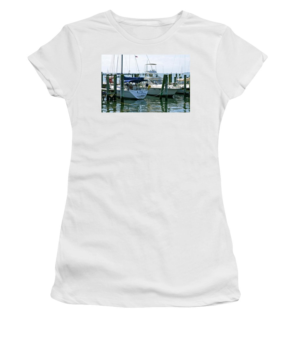 Boats Women's T-Shirt (Athletic Fit) featuring the photograph Stonington Harbor by Ira Shander