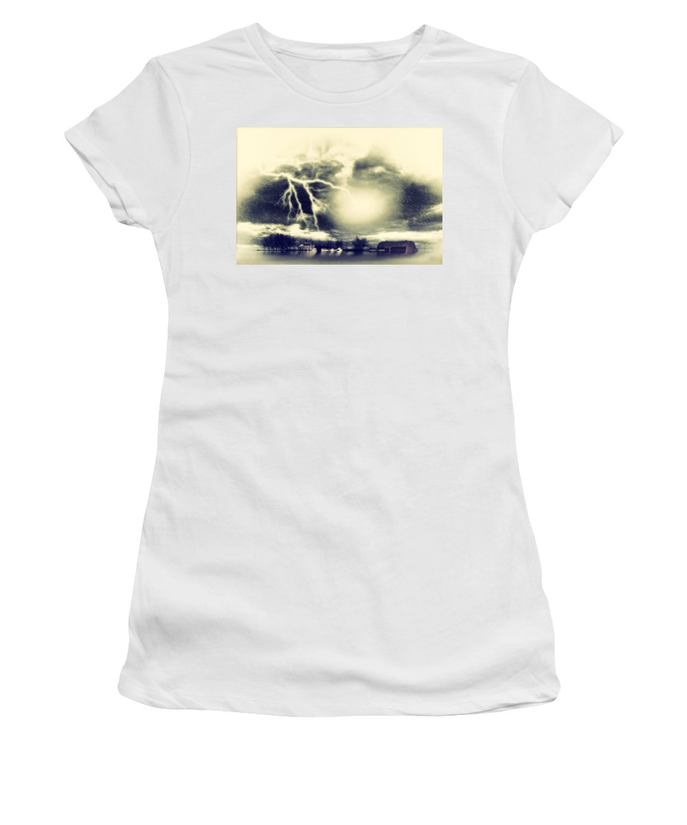 Landscape Women's T-Shirt featuring the digital art Storm And Flood by Diane Dugas