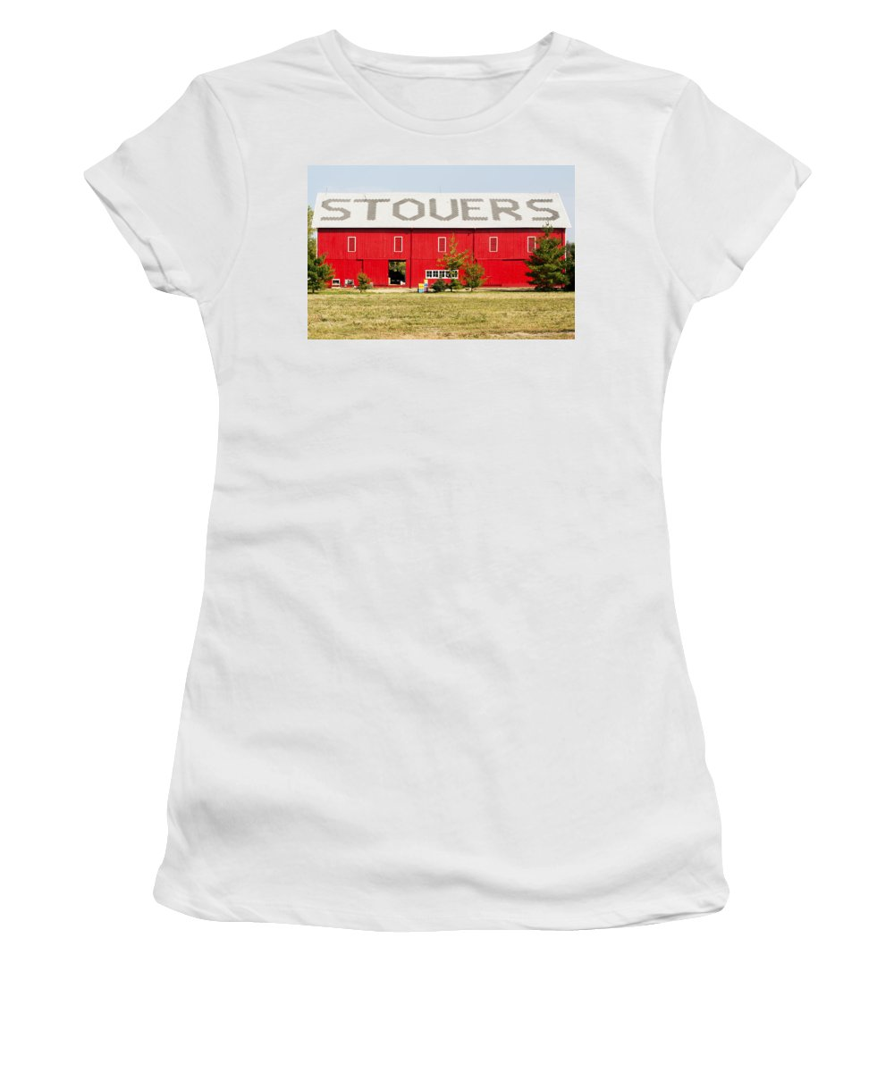 Horizontal Women's T-Shirt (Athletic Fit) featuring the photograph Stovers Farm Market Berrien Springs Michigan Usa by Sally Rockefeller