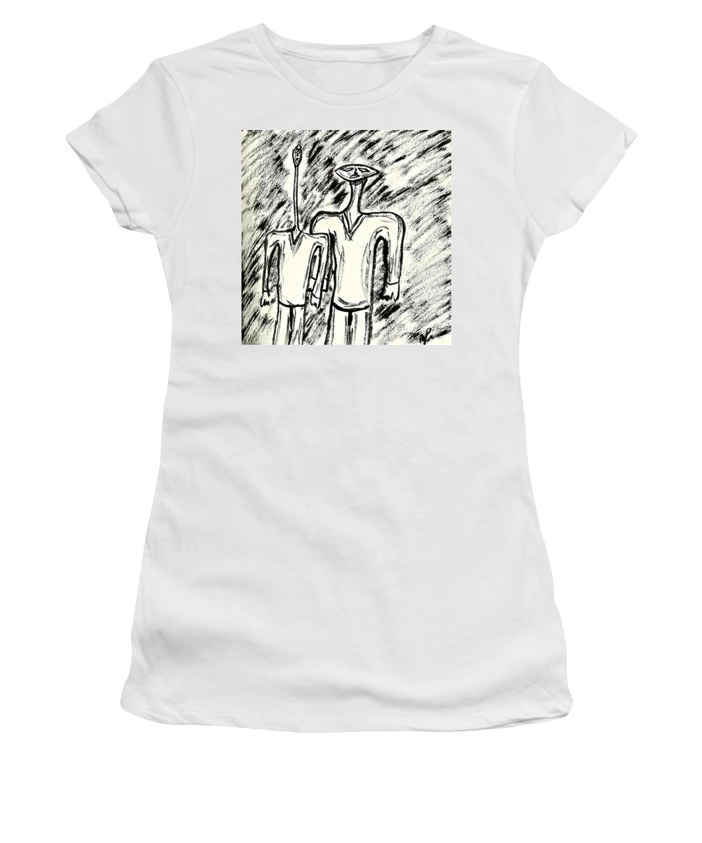 Figures Women's T-Shirt featuring the drawing Strange Friends #1 by Mario MJ Perron