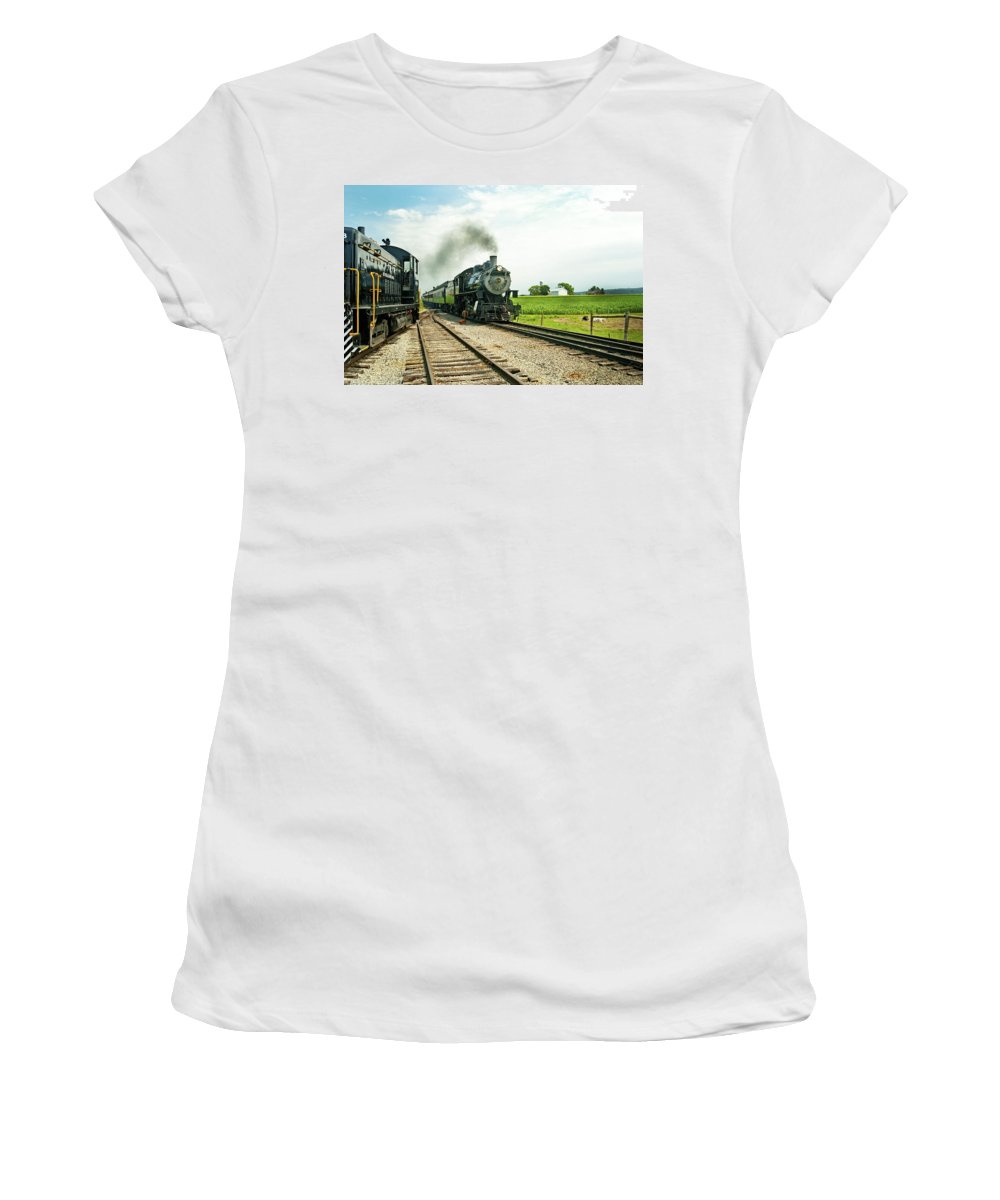 Railroad Women's T-Shirt (Athletic Fit) featuring the photograph Strasburg Express by Paul W Faust - Impressions of Light