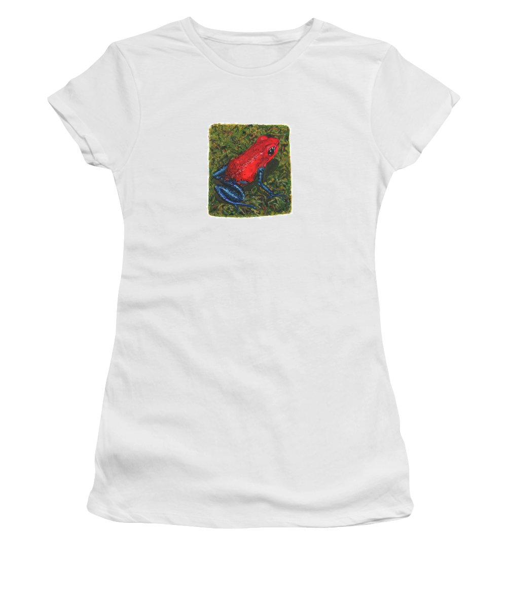 Strawberry Poison Dart Frog Women's T-Shirt (Athletic Fit) featuring the painting Strawberry Poison Dart Frog by Cindy Hitchcock