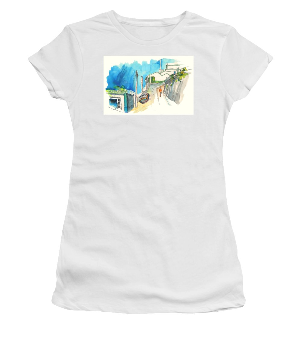Portugal Art Women's T-Shirt (Athletic Fit) featuring the painting Street In Ericeira In Portugal by Miki De Goodaboom