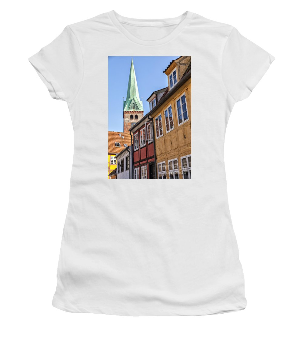 Spire Women's T-Shirt (Athletic Fit) featuring the photograph Street In Helsingor Denmark by Sophie McAulay