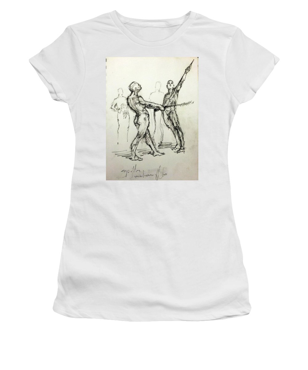 Male Women's T-Shirt (Athletic Fit) featuring the drawing study of Spotters by H James Hoff
