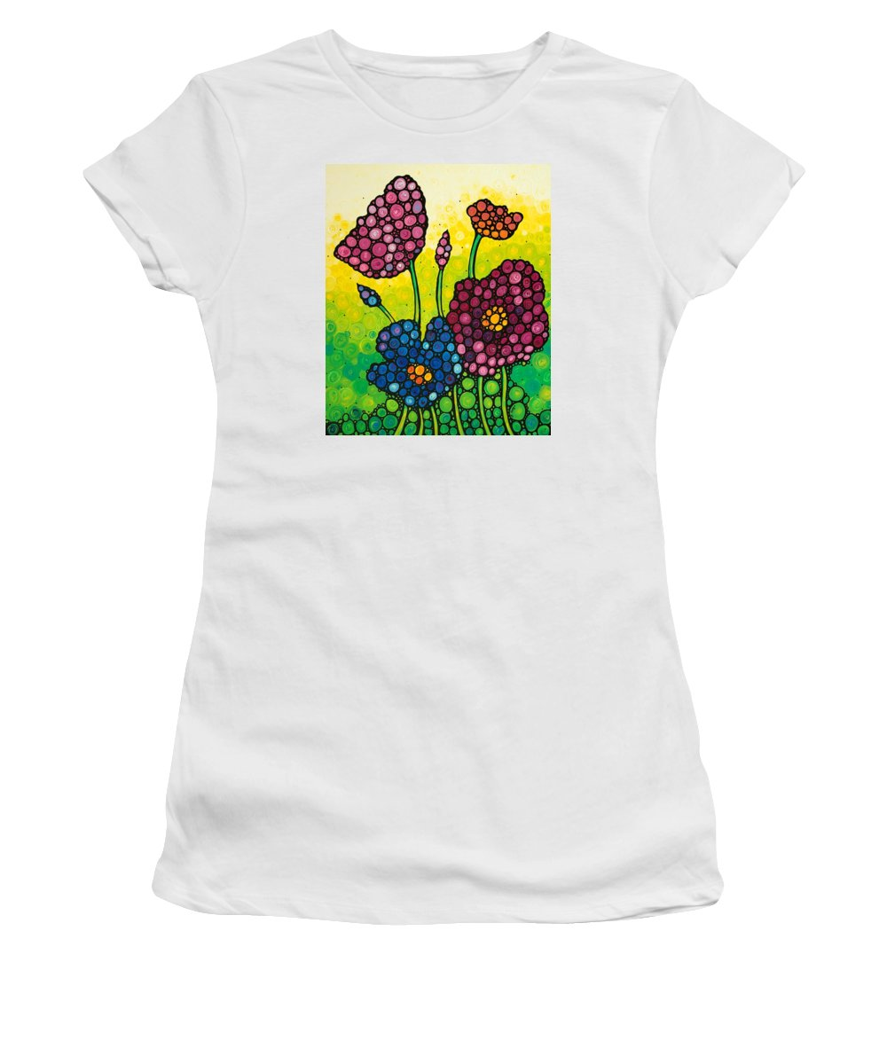 Flowers Women's T-Shirt (Athletic Fit) featuring the painting Summer Garden by Sharon Cummings