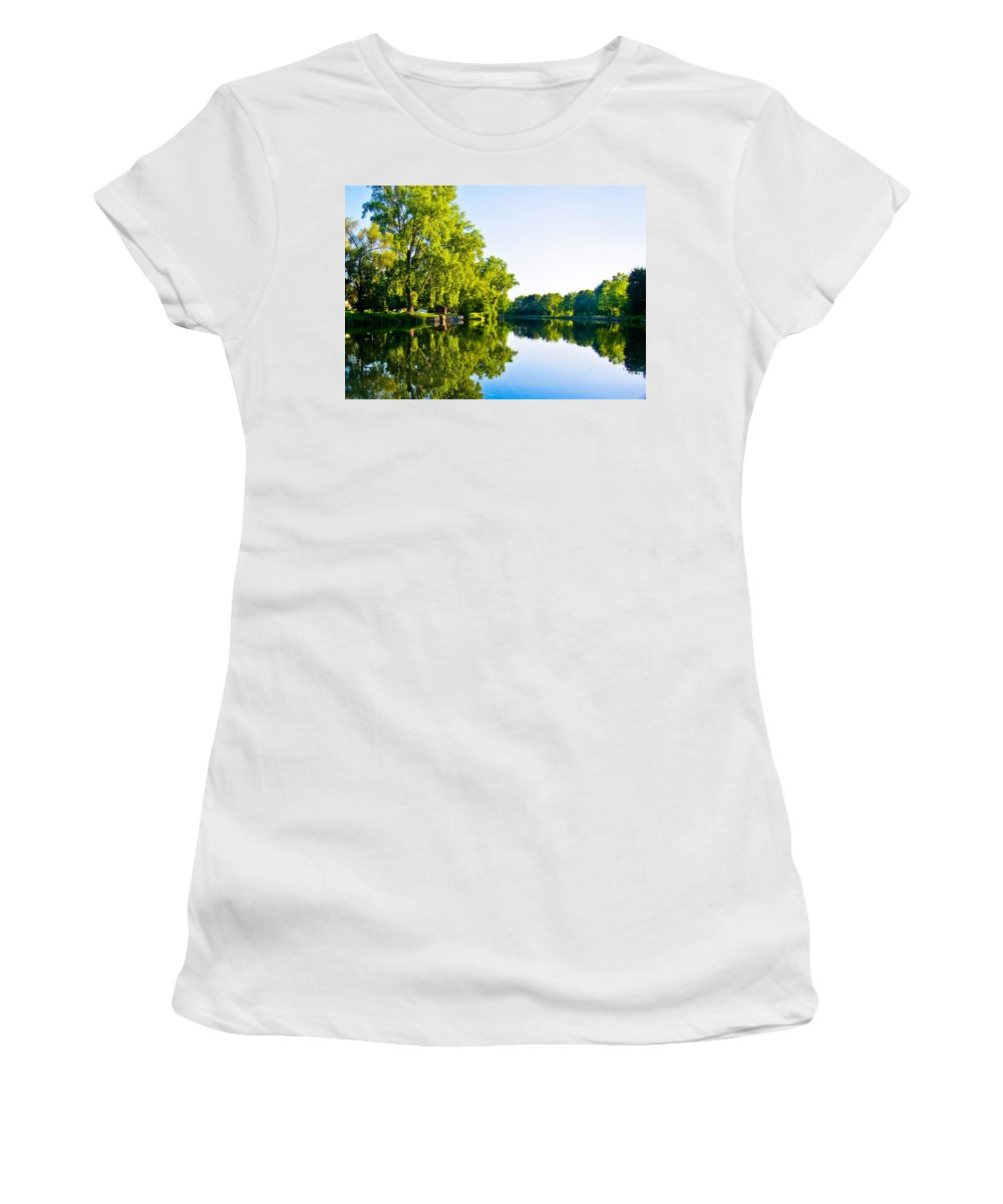 Erie Canal Women's T-Shirt featuring the photograph Summer Reflections by Sara Frank