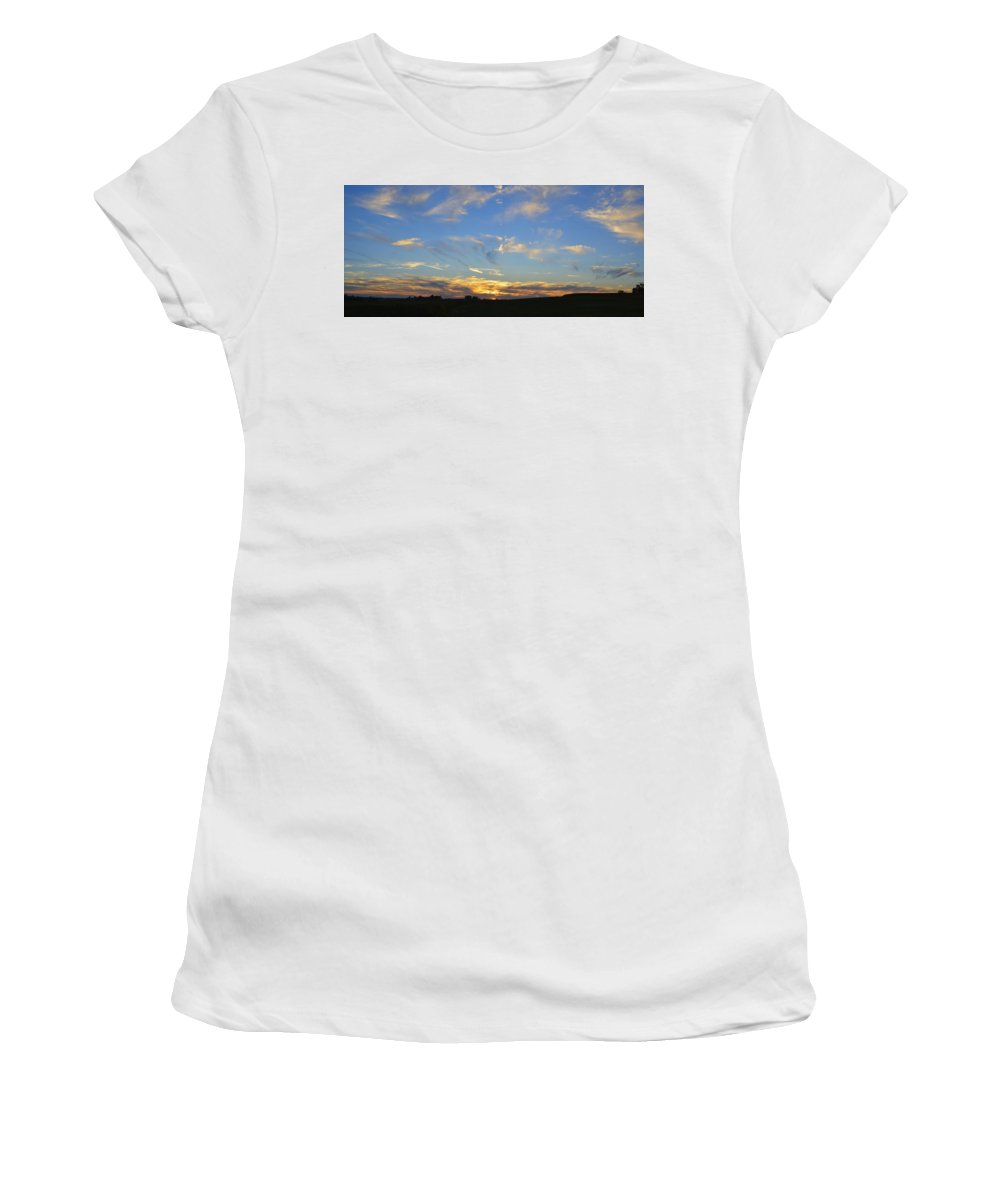 Background Women's T-Shirt (Athletic Fit) featuring the photograph Summer Sets Panorama by Bonfire Photography