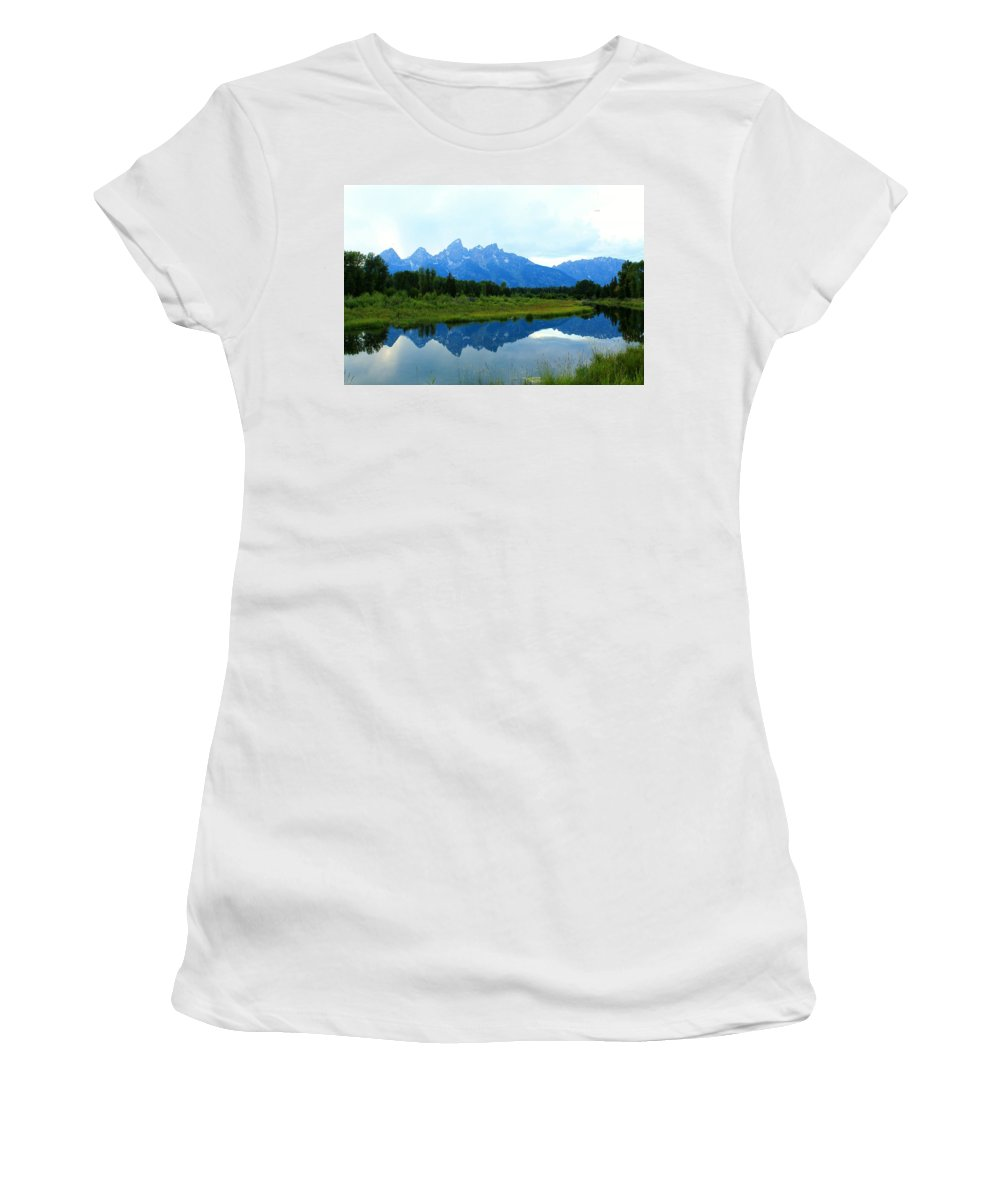 Grand Tetons Women's T-Shirt featuring the photograph Summer Snow Mountains by Catie Canetti