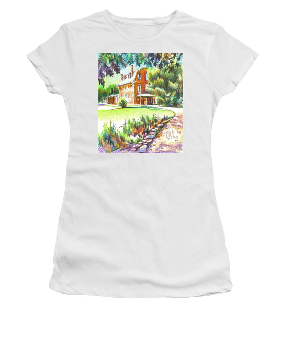 Summertime At Ursuline No C101 Women's T-Shirt (Athletic Fit) featuring the painting Summertime At Ursuline No C101 by Kip DeVore