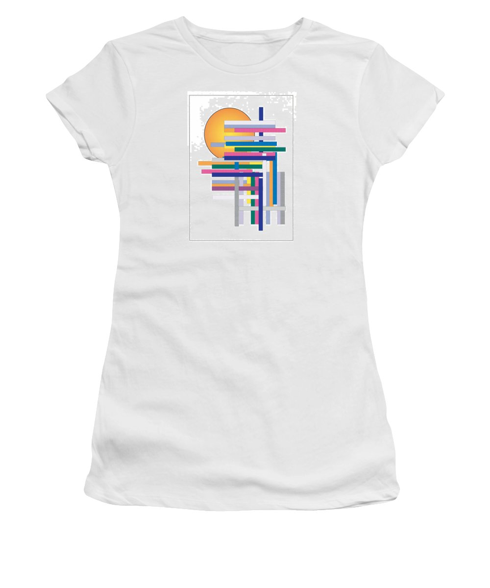 Contemporary Women's T-Shirt (Athletic Fit) featuring the digital art Sun City by Bjorn Sjogren