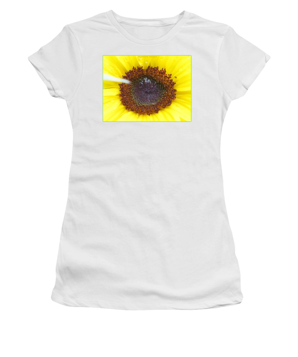 Amazing Flower Women's T-Shirt (Athletic Fit) featuring the photograph Sun Dial by Sonali Gangane