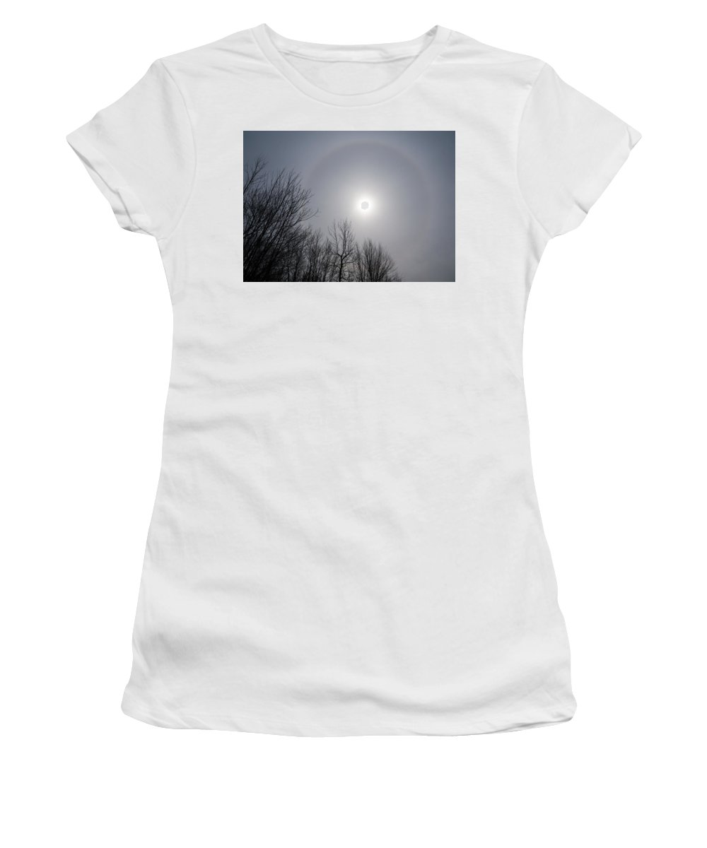 Sun Halo Women's T-Shirt (Athletic Fit) featuring the photograph Sun Halo Through The Trees by Georgia Mizuleva