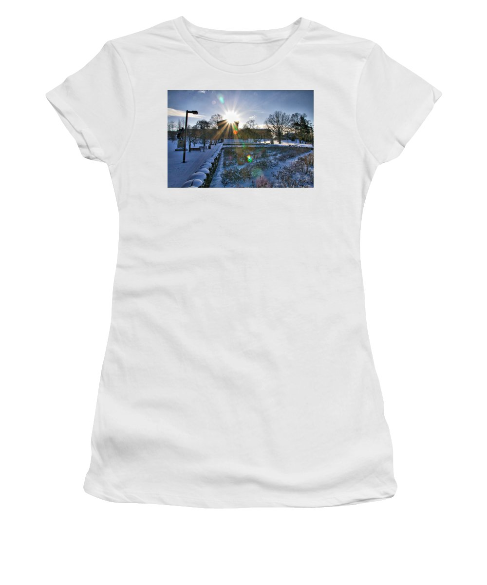 Art Museum Women's T-Shirt (Athletic Fit) featuring the photograph Sunflare At The Back by Alice Gipson