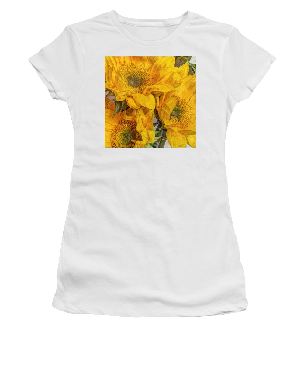 Yellow Women's T-Shirt (Athletic Fit) featuring the photograph Sunflower Trio by Heidi Smith