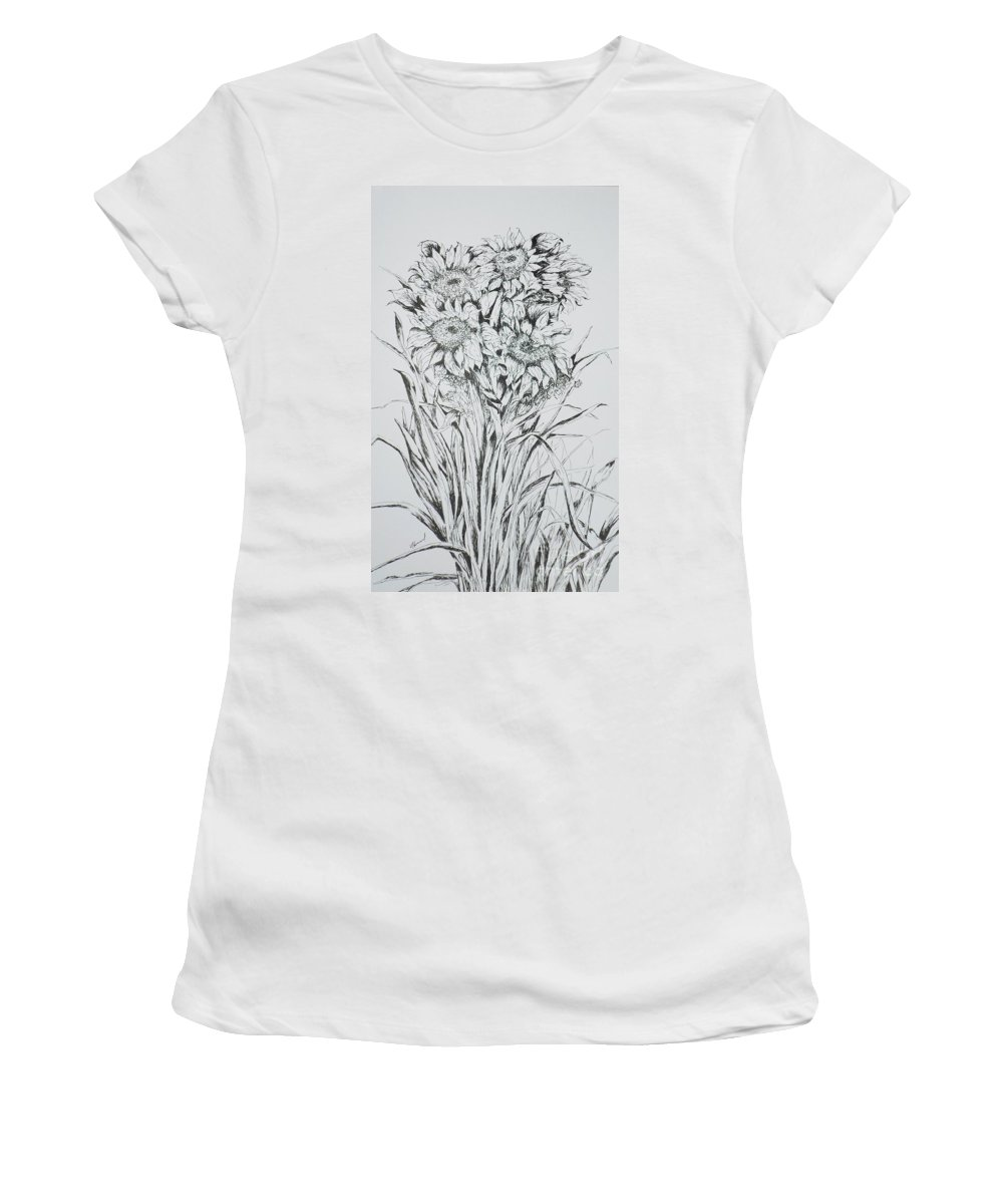 Flowers Women's T-Shirt (Athletic Fit) featuring the painting Sunflowers Black And White by Vicki Housel
