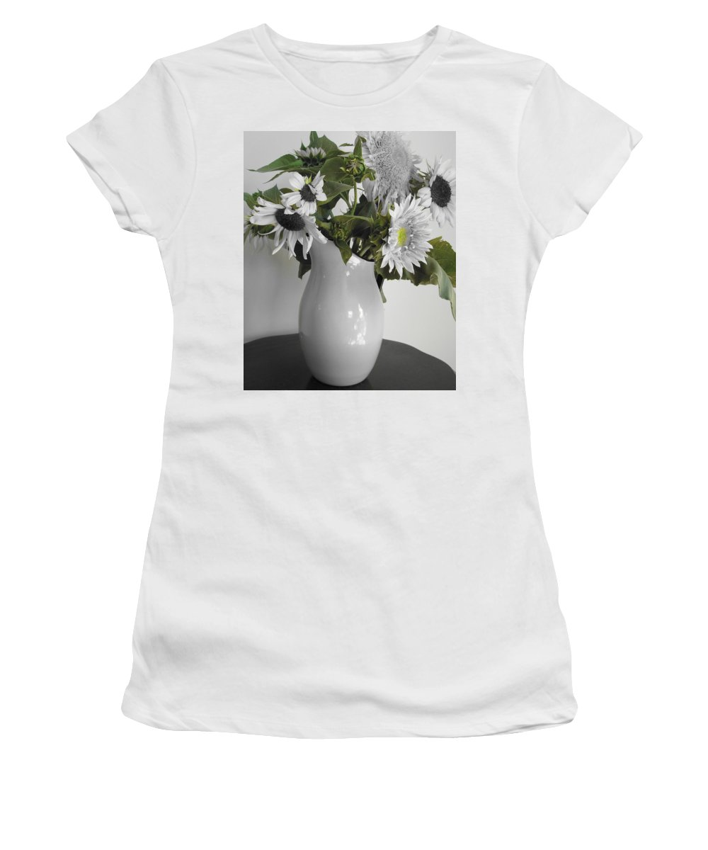 Sunflowers Women's T-Shirt (Athletic Fit) featuring the photograph Sunflowers by Mary Wolf