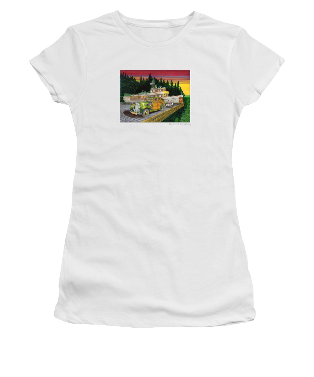 Image Of 1934 Bentley Shooting Brake On The Dock At The Seattle Yacht Club Port Madison Out Station Women's T-Shirt (Athletic Fit) featuring the painting Port Madison Sunrise by Jack Pumphrey