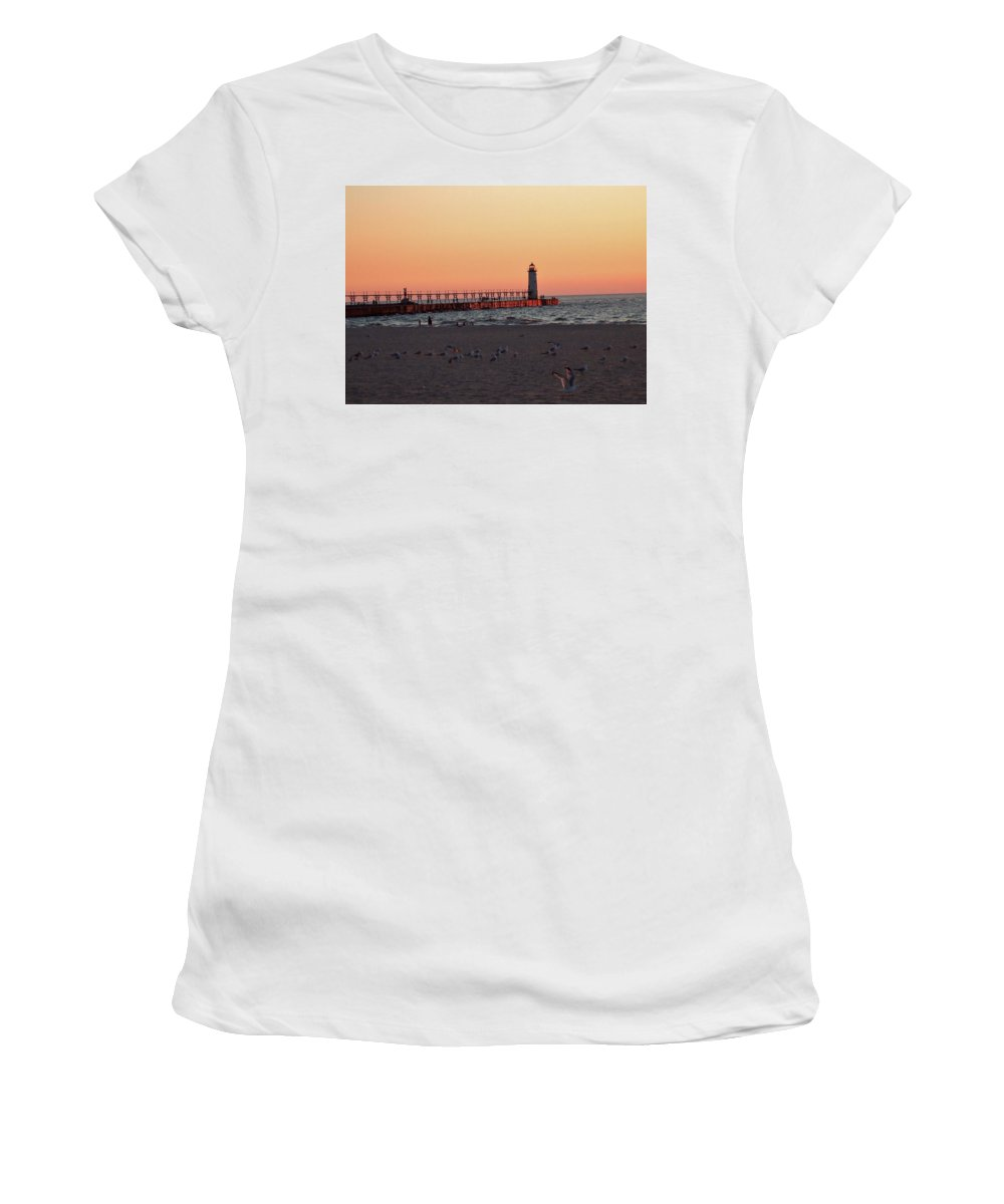 Sunset Women's T-Shirt (Athletic Fit) featuring the photograph Sunset At The Lighthouse by Susan Wyman