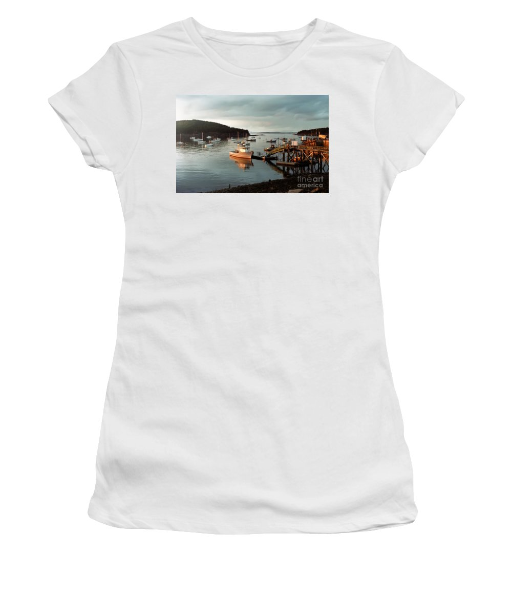 Bay Women's T-Shirt (Athletic Fit) featuring the photograph Sunset On Mount Desert Island Maine by Thomas Marchessault