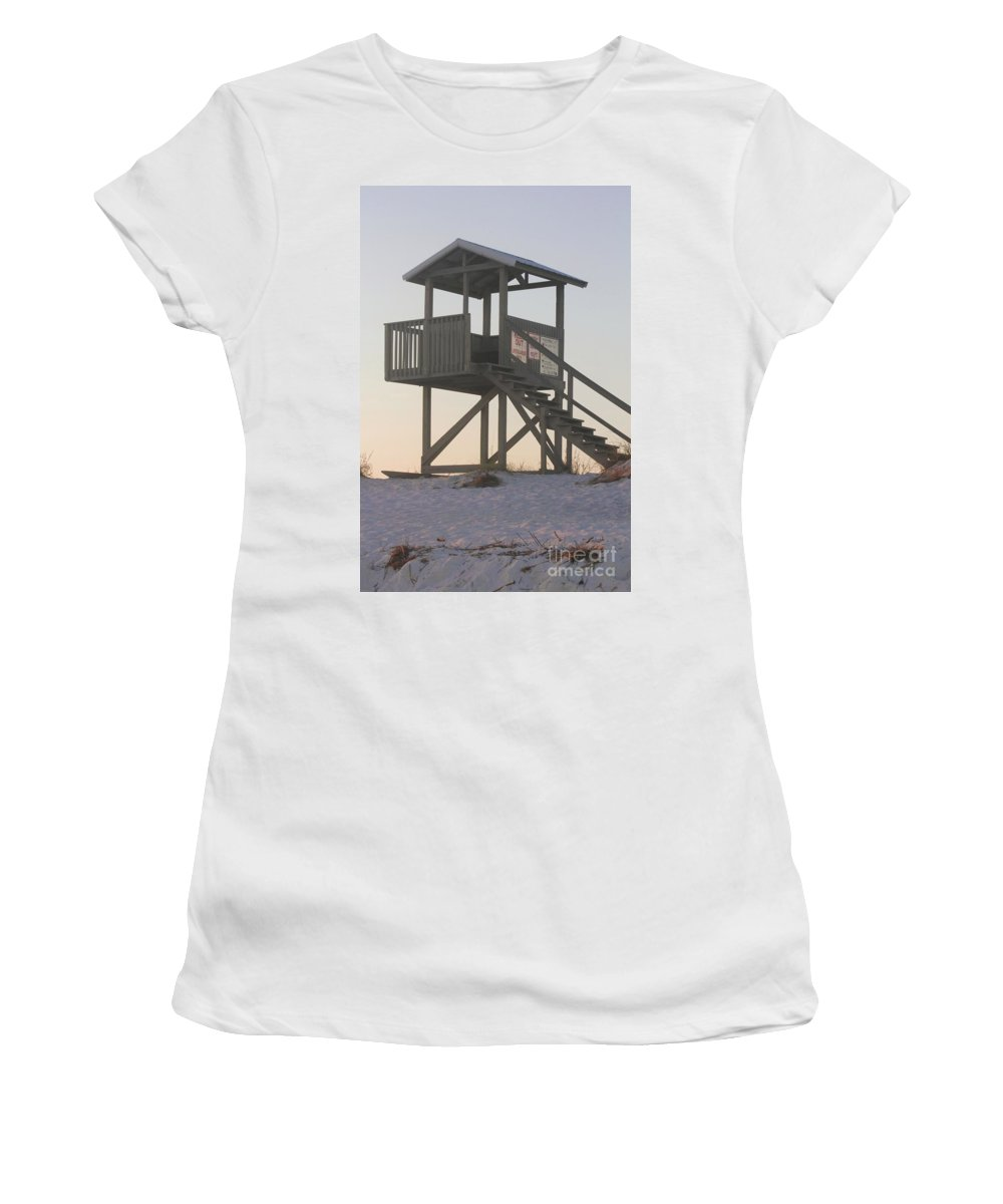 Sunset Women's T-Shirt (Athletic Fit) featuring the photograph Sunset On The Gaurd Shack by Michelle Powell
