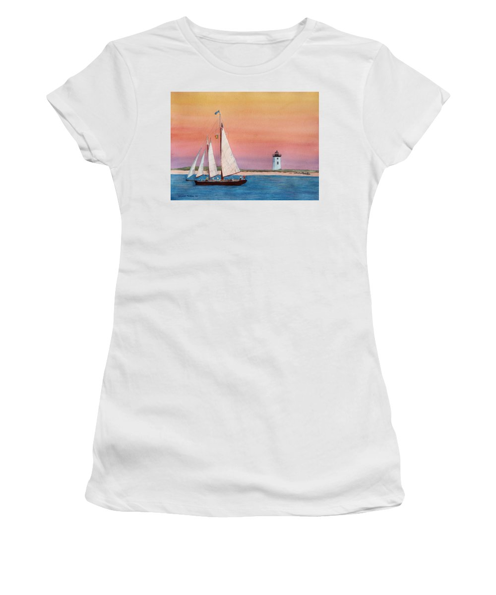 Sailboat Women's T-Shirt (Athletic Fit) featuring the painting Sunset Sail by Sharon Farber