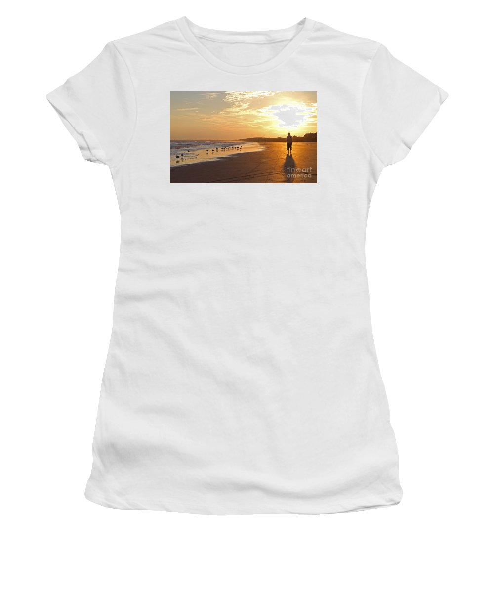 Sunset Women's T-Shirt (Athletic Fit) featuring the photograph Sunset Stroll by Kevin McCarthy
