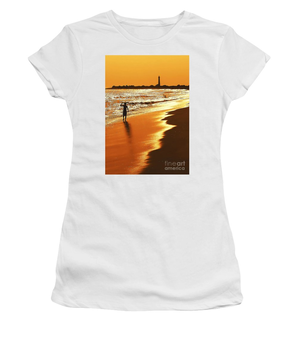 Lighthouses Women's T-Shirt (Athletic Fit) featuring the photograph Sunset Surfer by Anthony Sacco